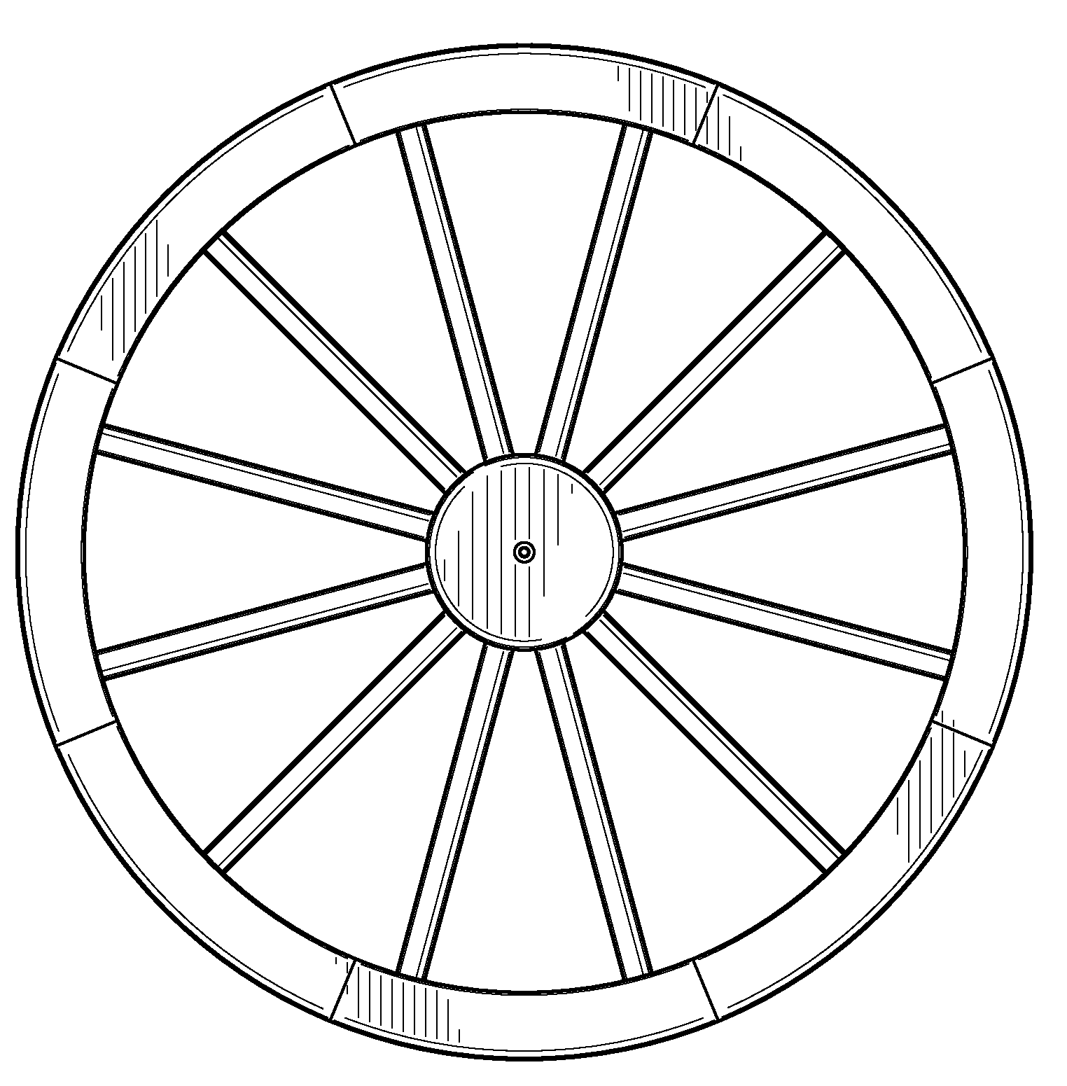 Wagon Wheel Line Drawing Sketch Coloring Page