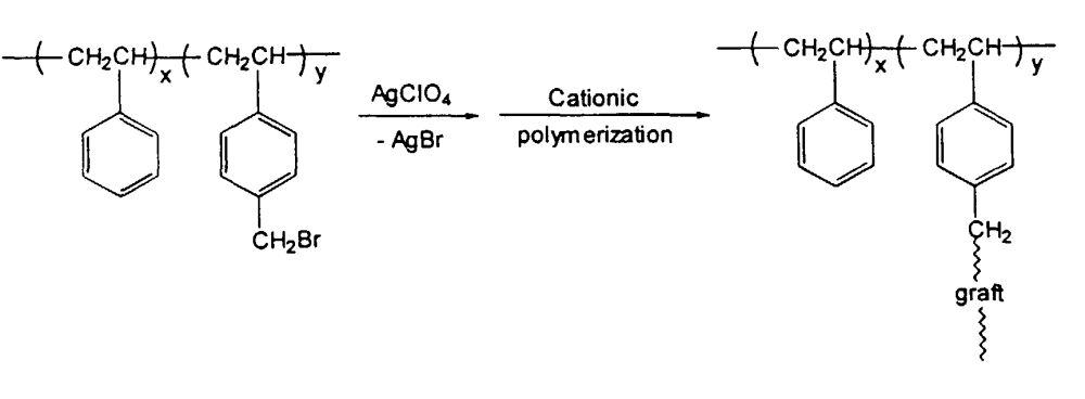medium resolution of the reaction of a functionalized such as brominated syndiotactic styrene p alkylstyrene with a monomer via free radical polymerization is as follows