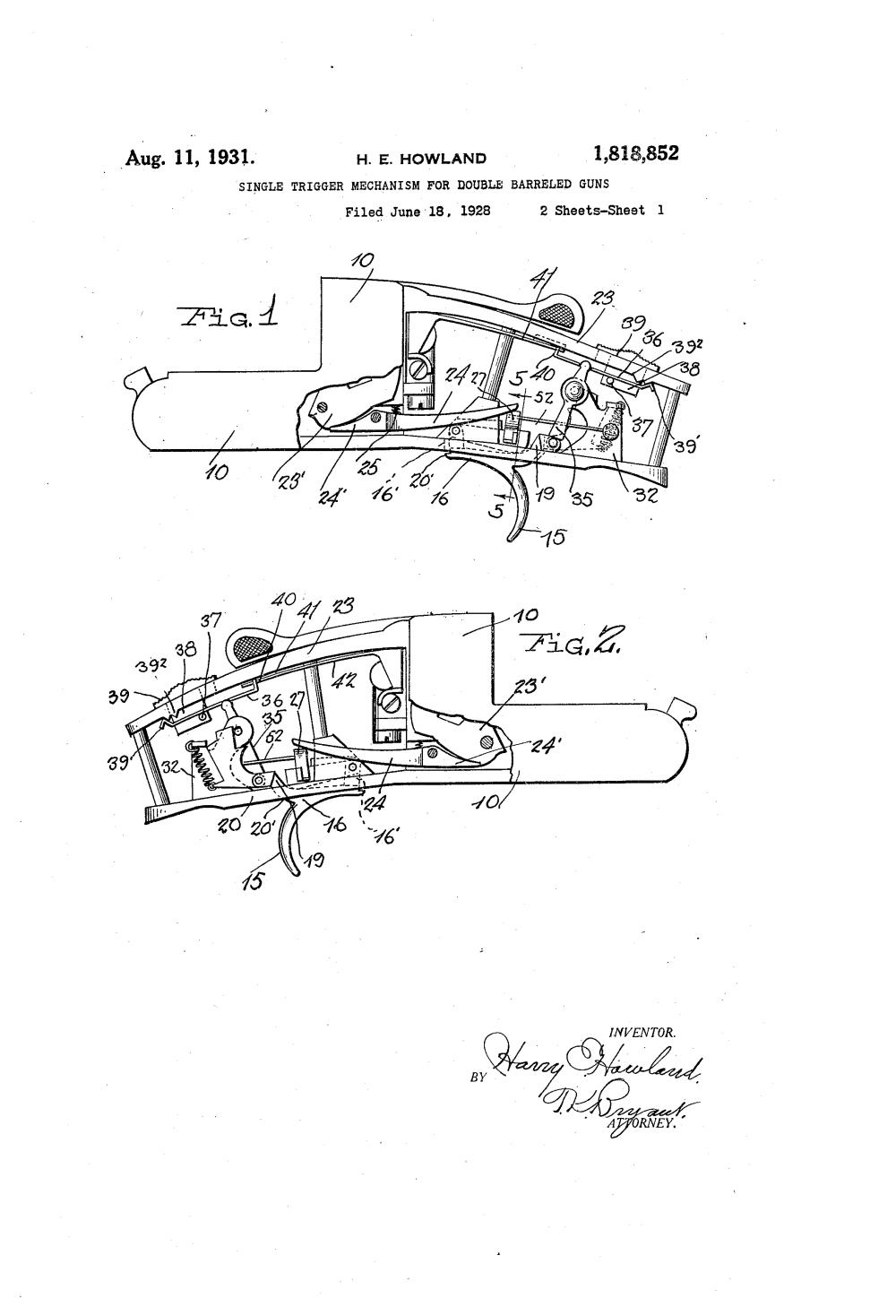 medium resolution of us1818852a single trigger mechanism for double barreled guns google patents