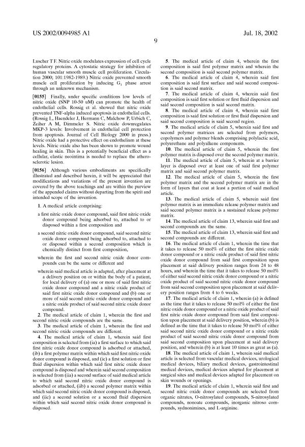 特許 US20020094985 Differential delivery of nitric oxide