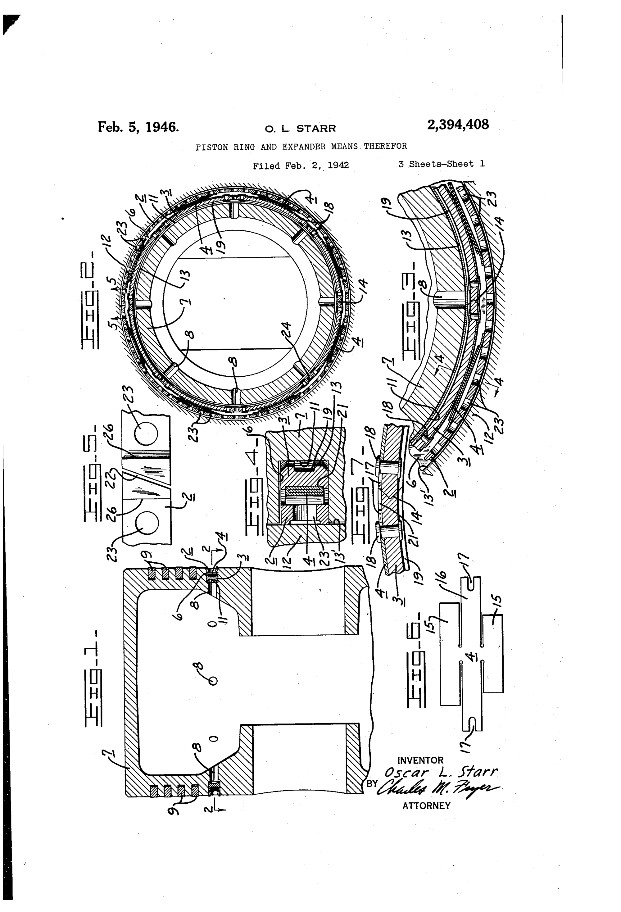 hight resolution of patent us2394408 piston ring and expander means therefor google patents