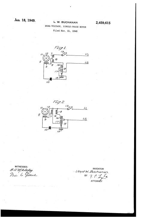 small resolution of 0 patent us2459615 dual voltage single phase motor google patents single phase dual single phase dual voltage motor wiring diagram