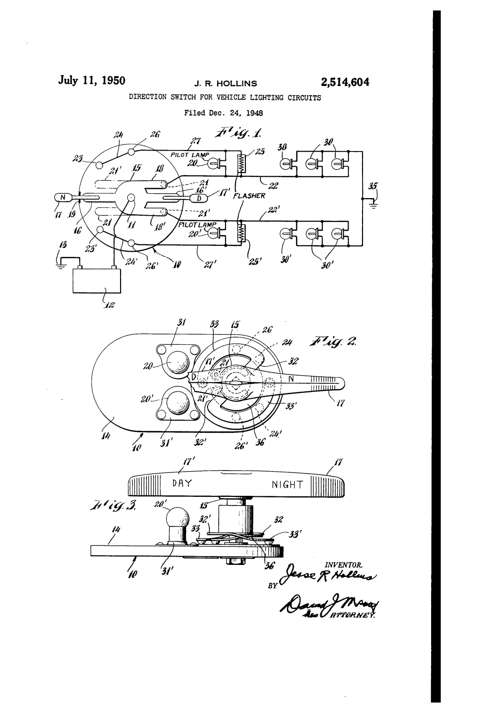 medium resolution of patent us2514604 direction switch for vehicle lighting circuits google patents