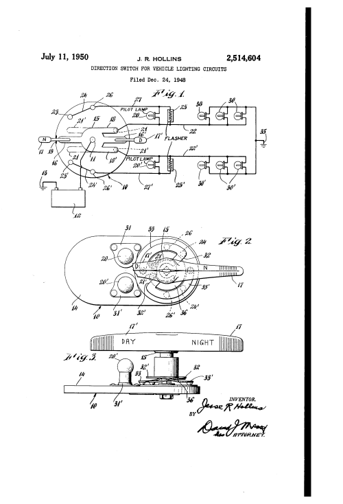 small resolution of patent us2514604 direction switch for vehicle lighting circuits google patents