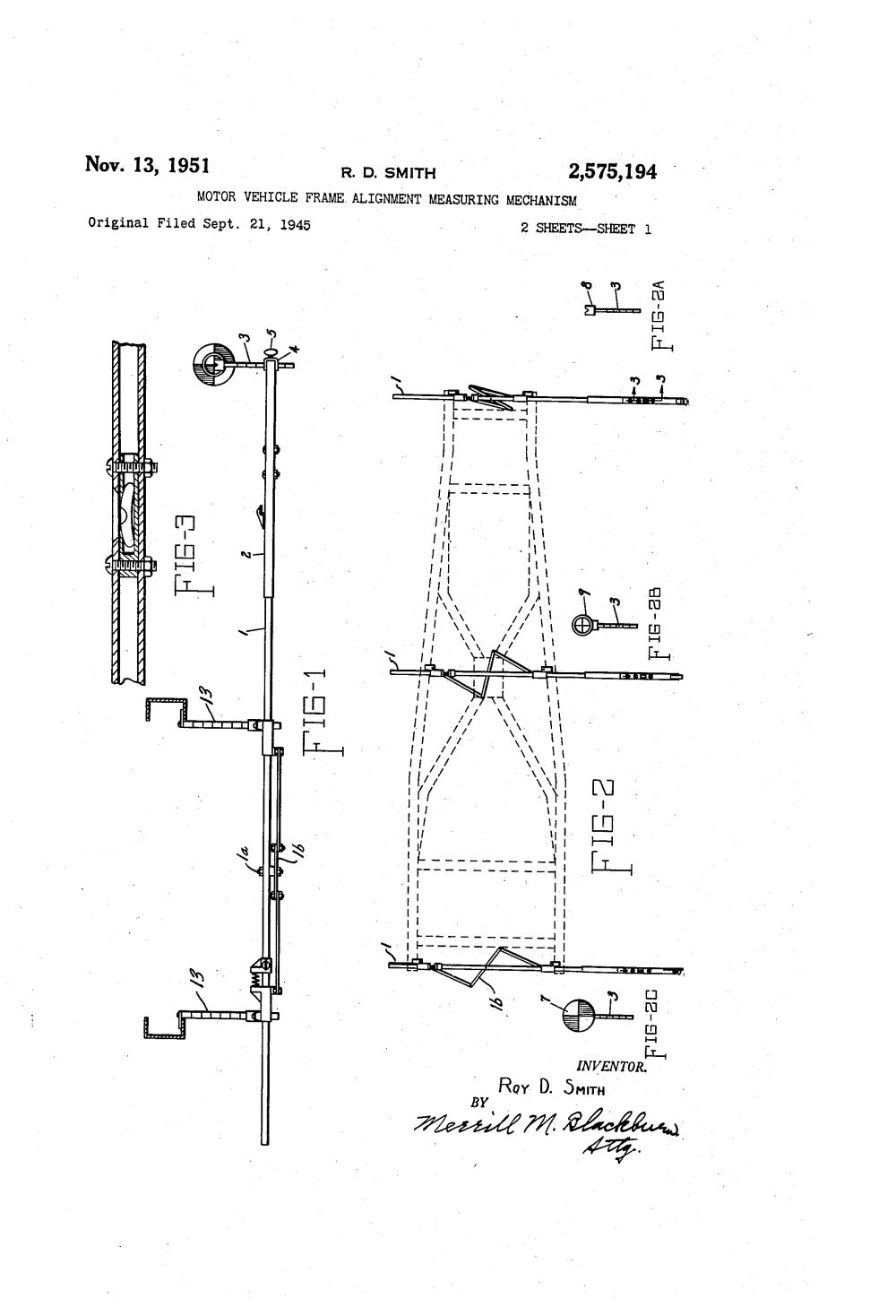 medium resolution of patent us2575194 motor vehicle frame alignment measuring mechanism google patents