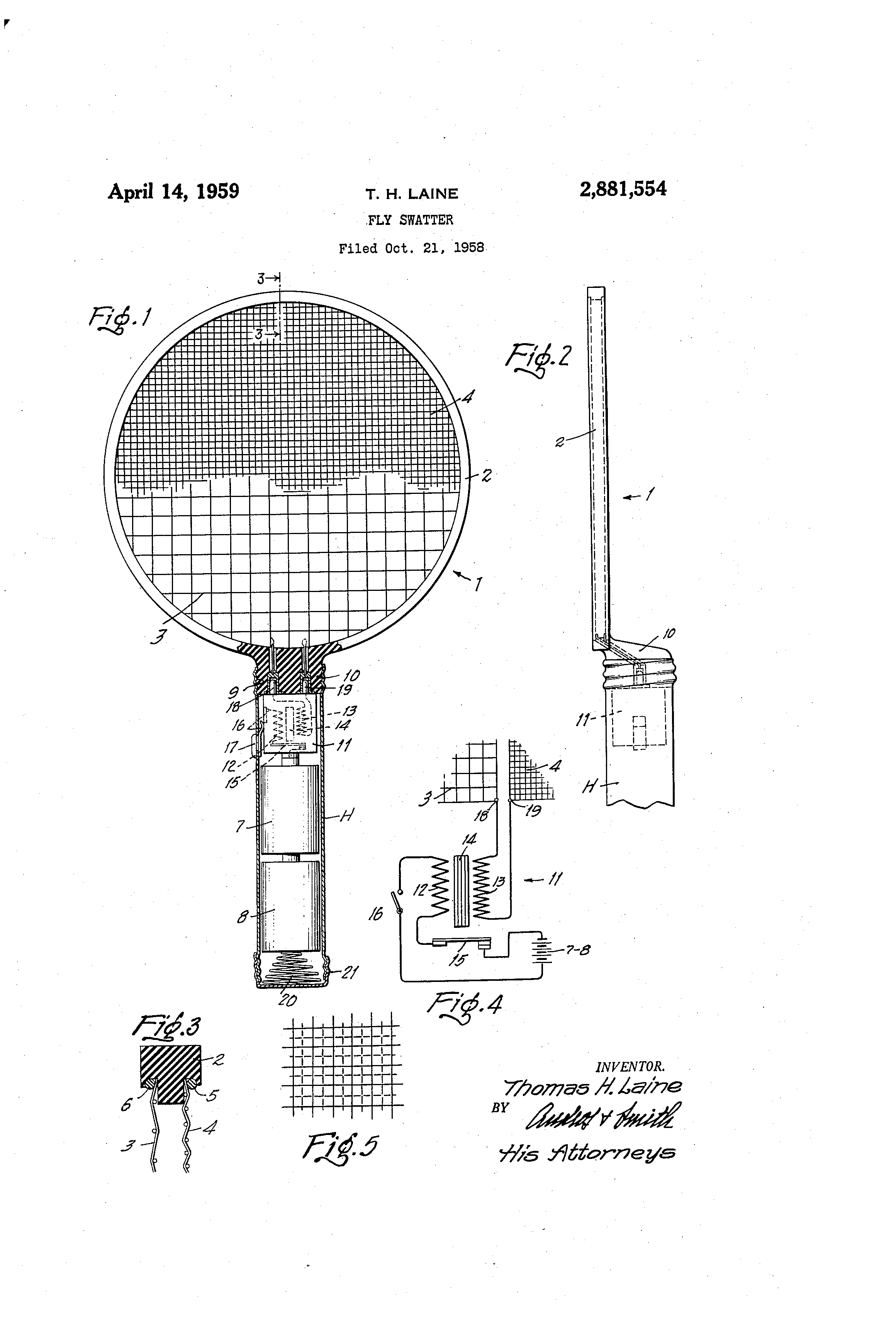 Patent US2881554 Fly Swatter Google Patents