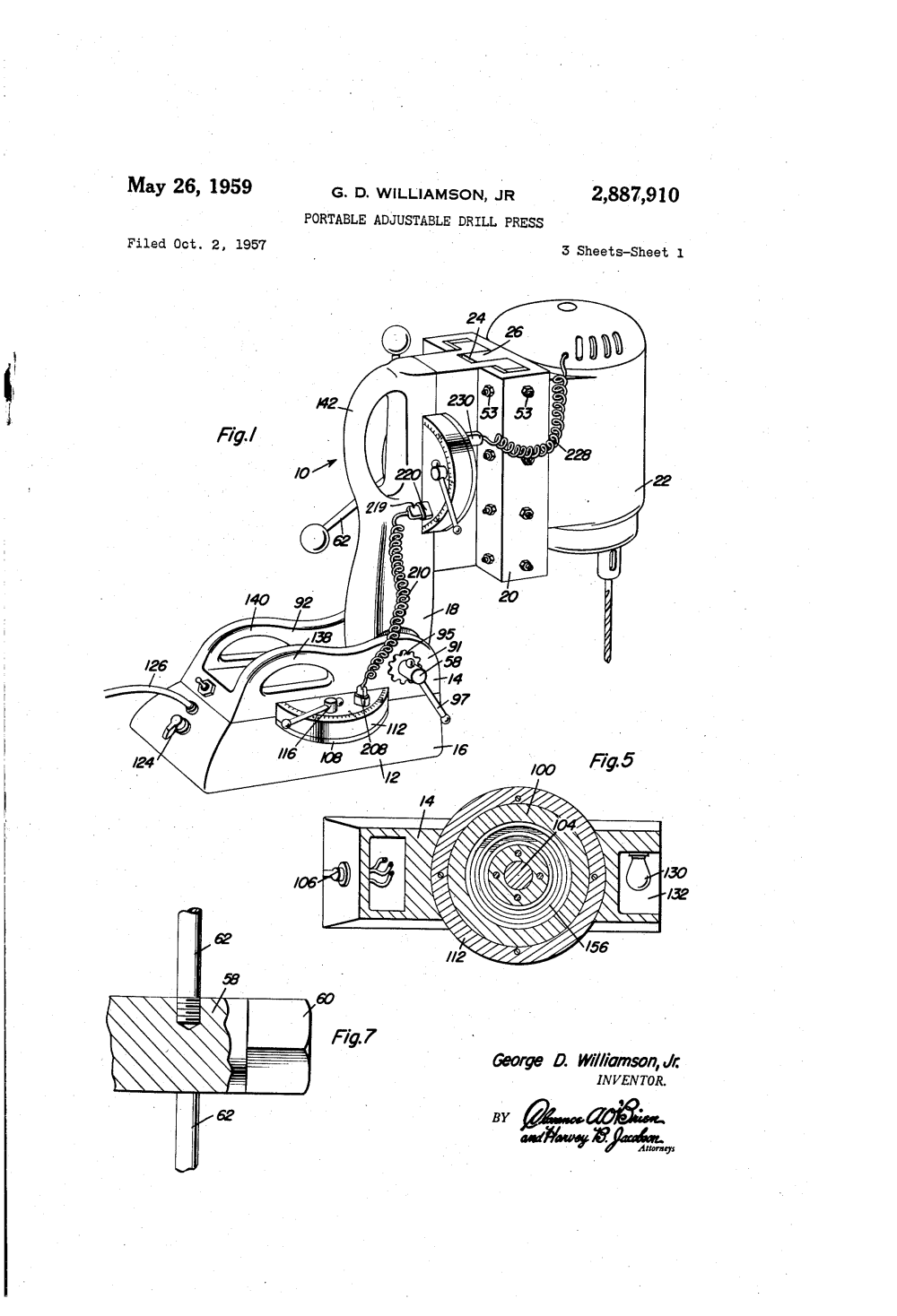 medium resolution of us2887910 0 patent us2887910 portable adjustable drill press google patents milwaukee electric drill milwaukee electric drill wiring diagram