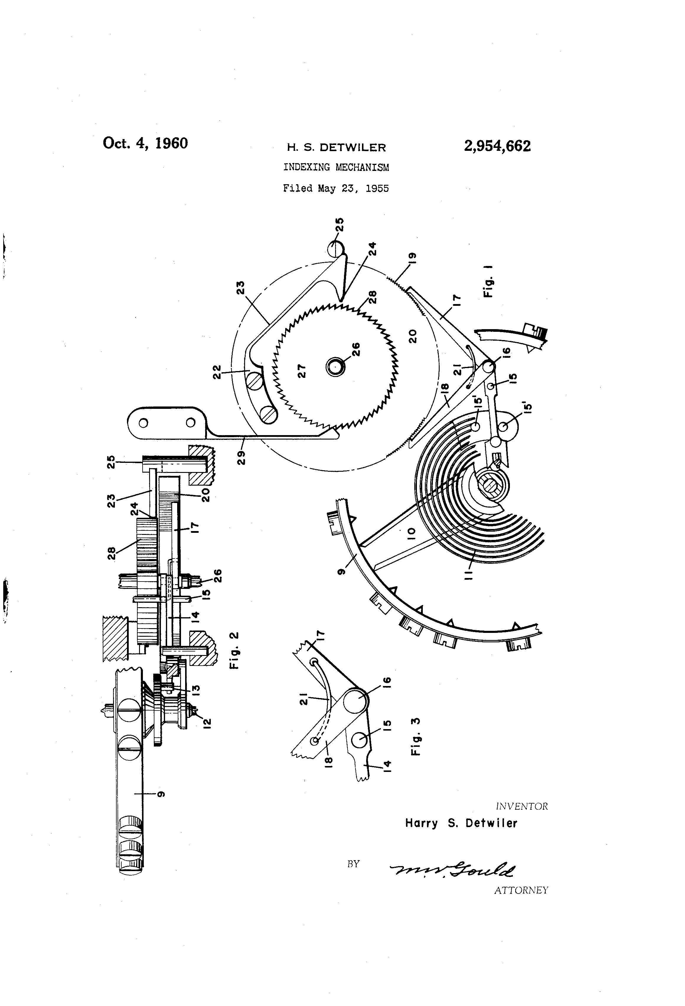 Patent Index Mech by Harry S. Detwiler Issued Oct 4, 1960