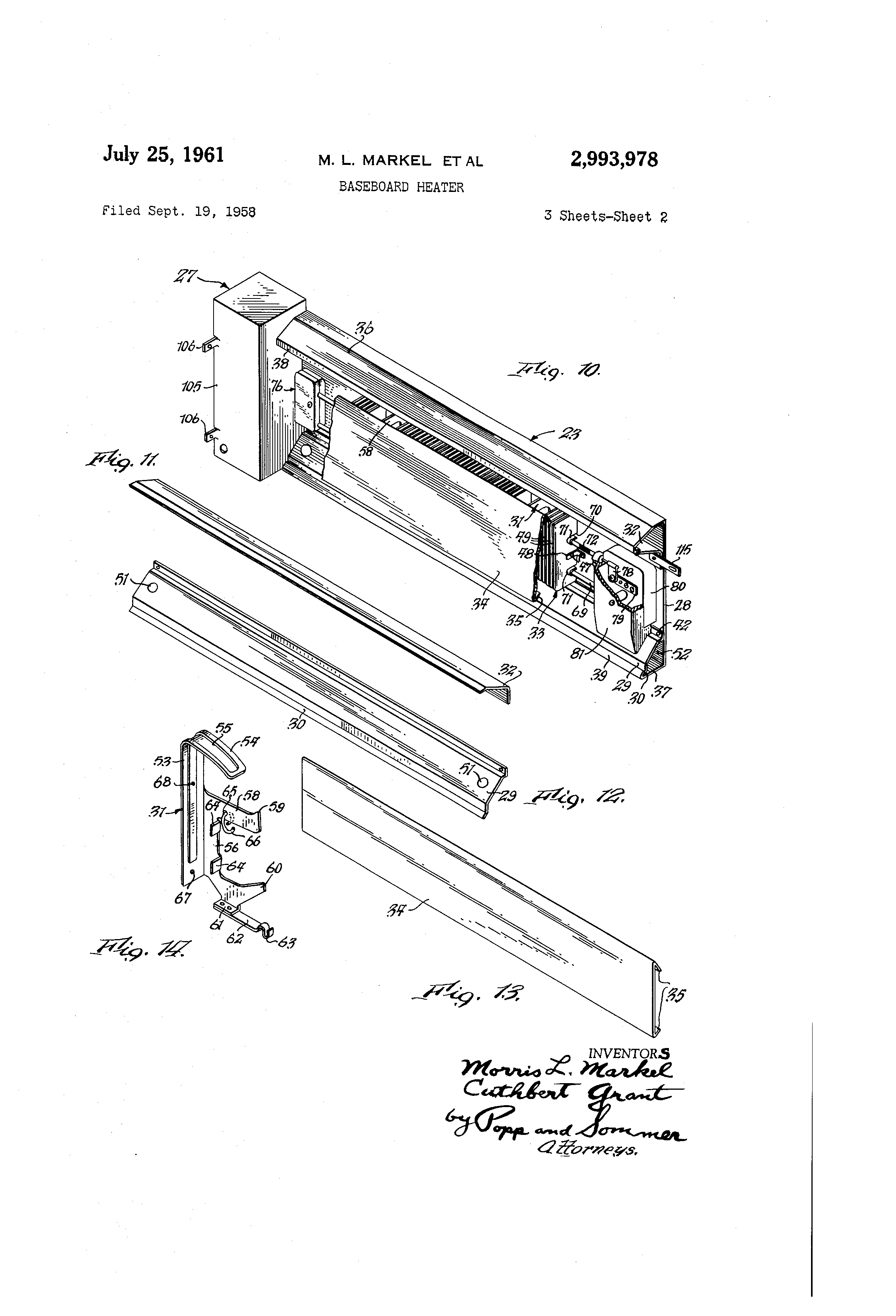 cadet baseboard heater wiring diagram of simple house patent us2993978 google patents