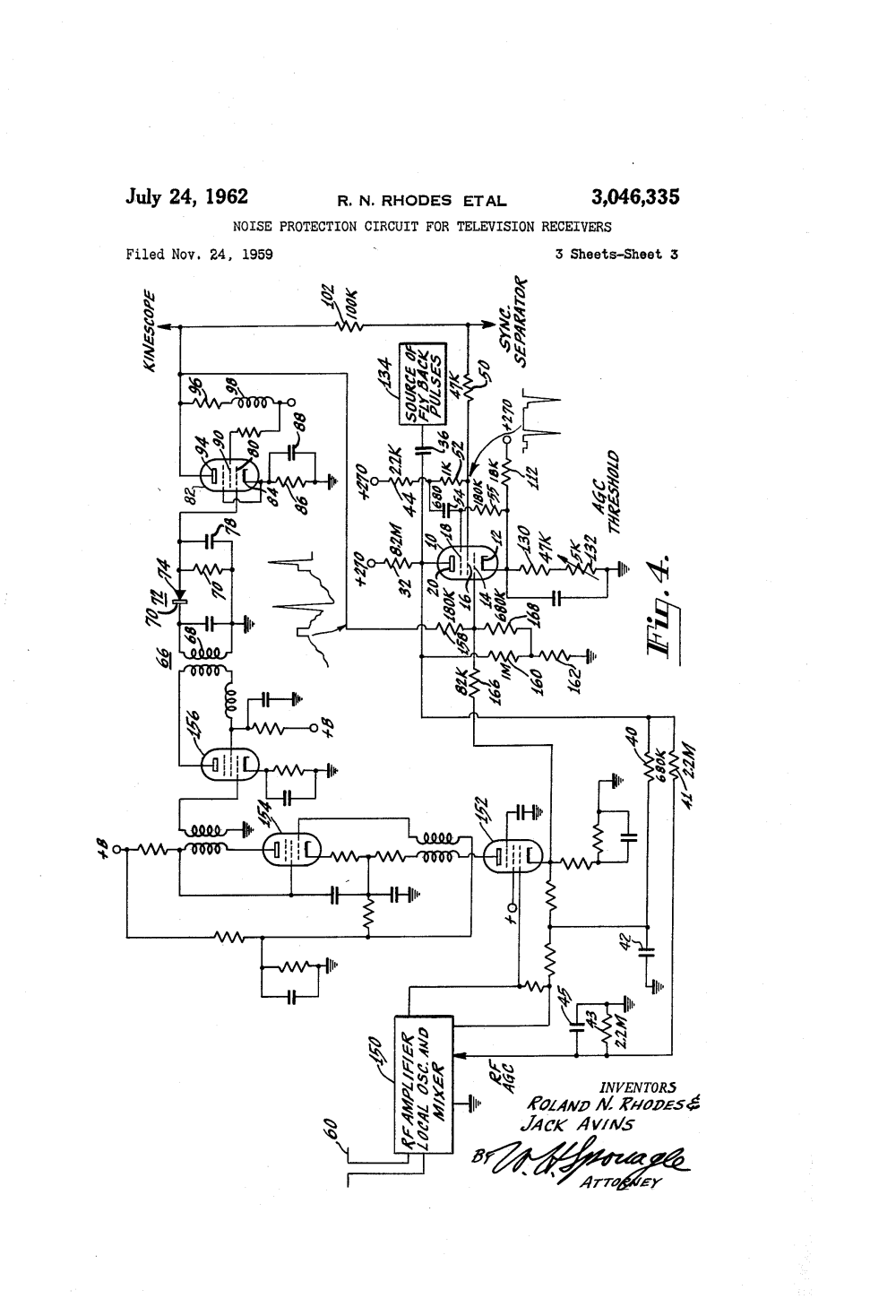 medium resolution of patent us3046335 noise protection circuit for television receivers figure fo2 2 amplifiermixer schematic diagram sheet 2 of 2
