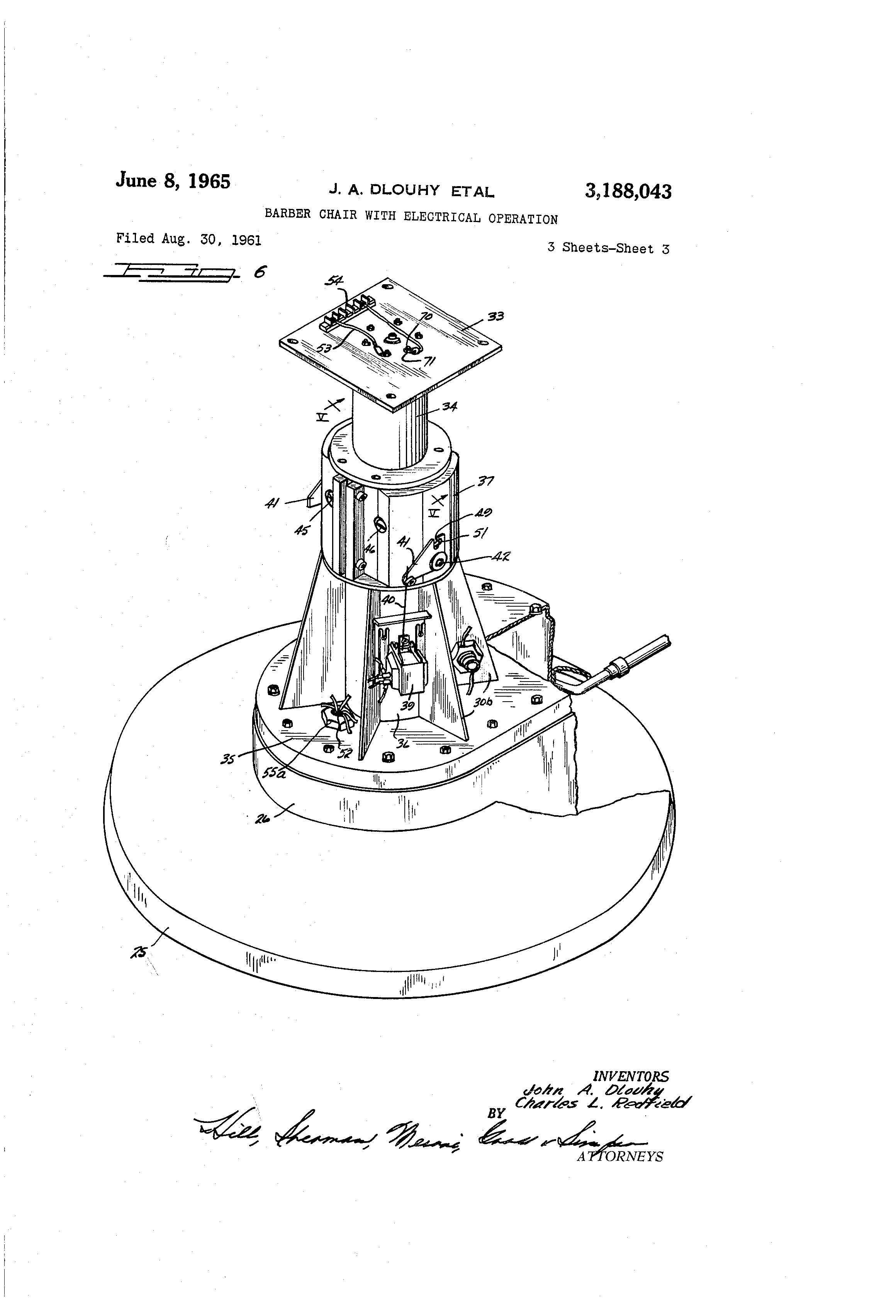 Patent US3188043  Barber chair with electrical operation