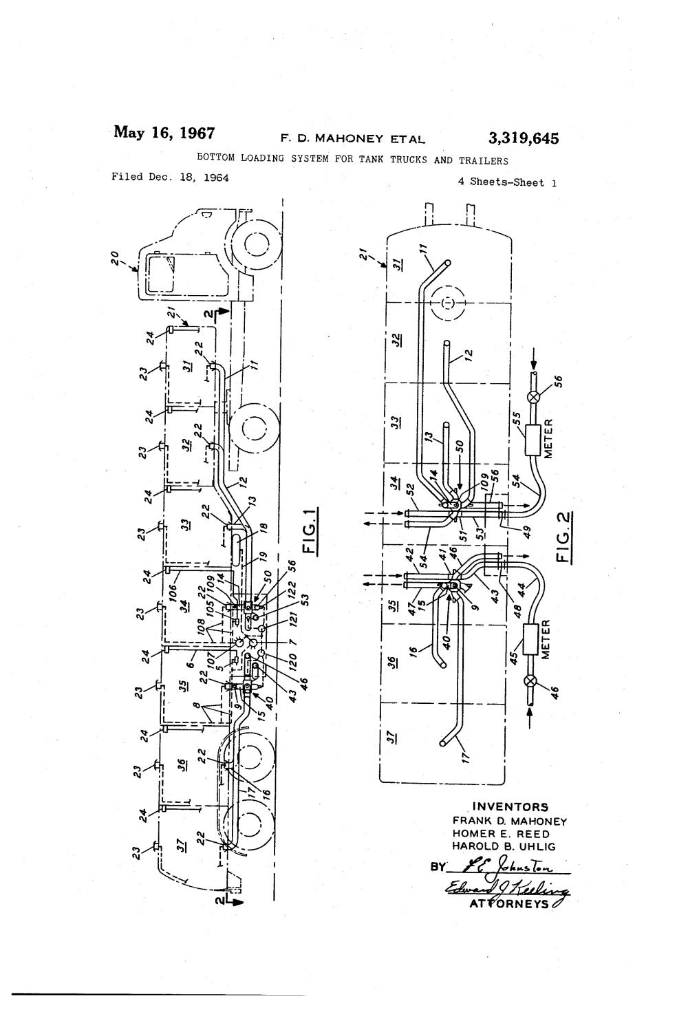 medium resolution of brevet us3319645 bottom loading system for tank trucks and tanker fire trucks tanker truck schematic