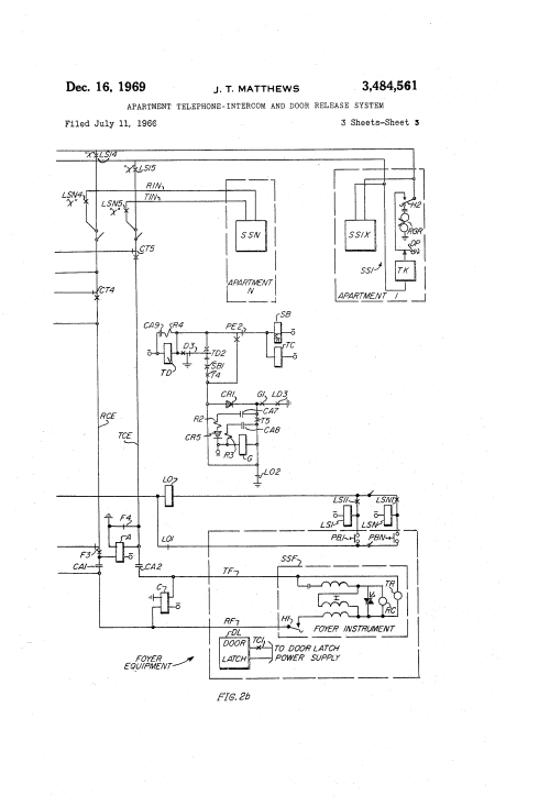 small resolution of  us3484561 2 patent us3484561 apartment telephone intercom and door release telephone intercom wiring diagram at cita