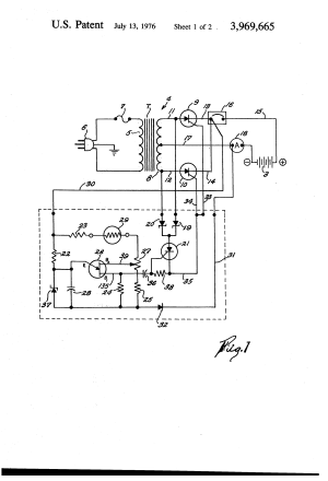 Patent US3969665  Automatic control circuit for battery