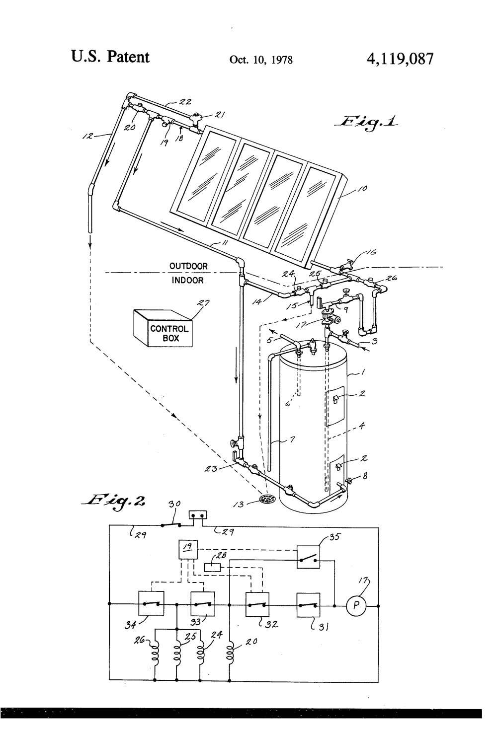 medium resolution of patent us4119087 solar water heating system google patents system google patents on wiring solar panels in series and parallel