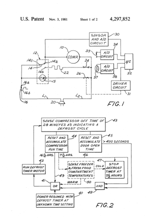 Patent US4297852  Refrigerator defrost control with control of time interval between defrost