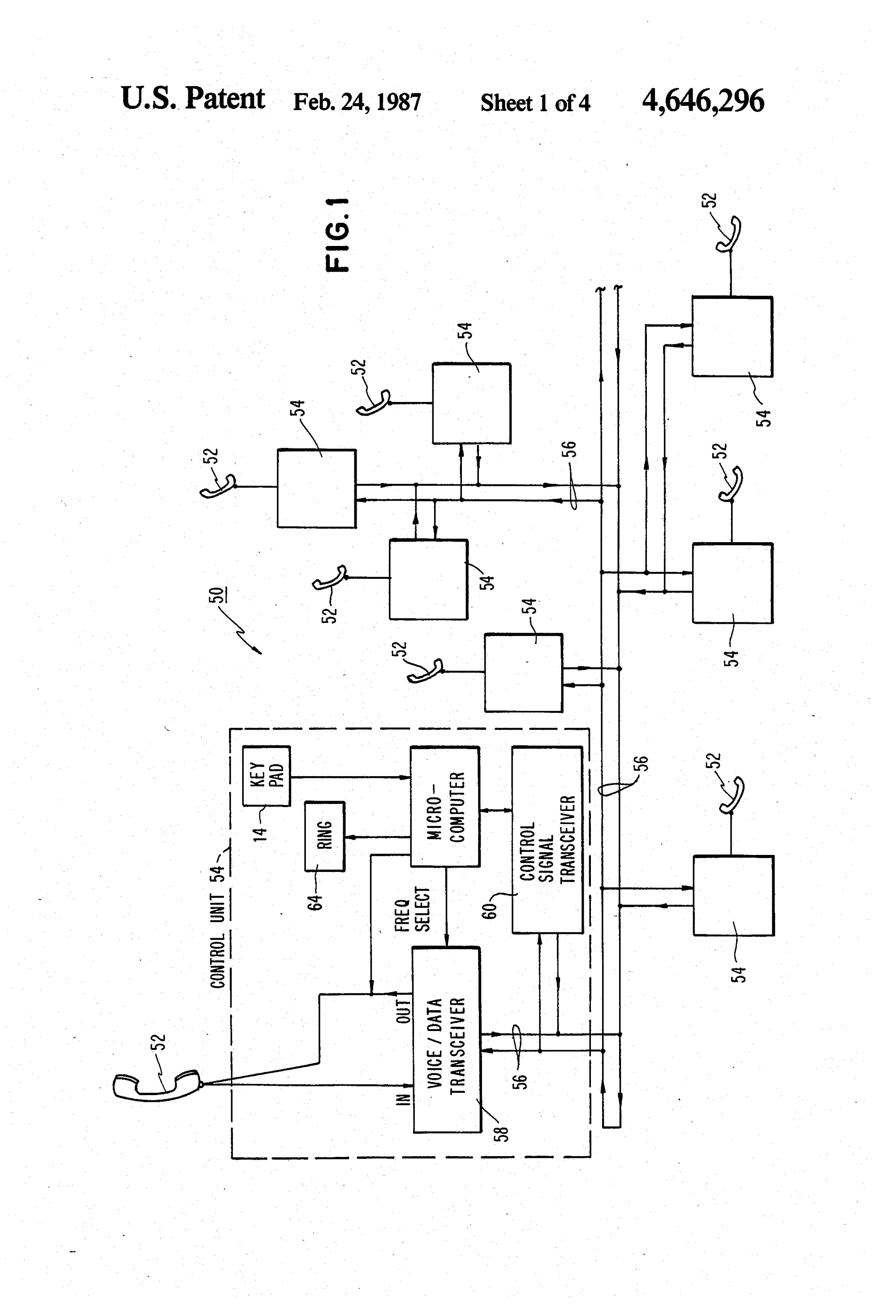 hight resolution of patent us4646296 distributed telephone system google patents wiring an multiple outlet including patent us7522714 telephone outlet