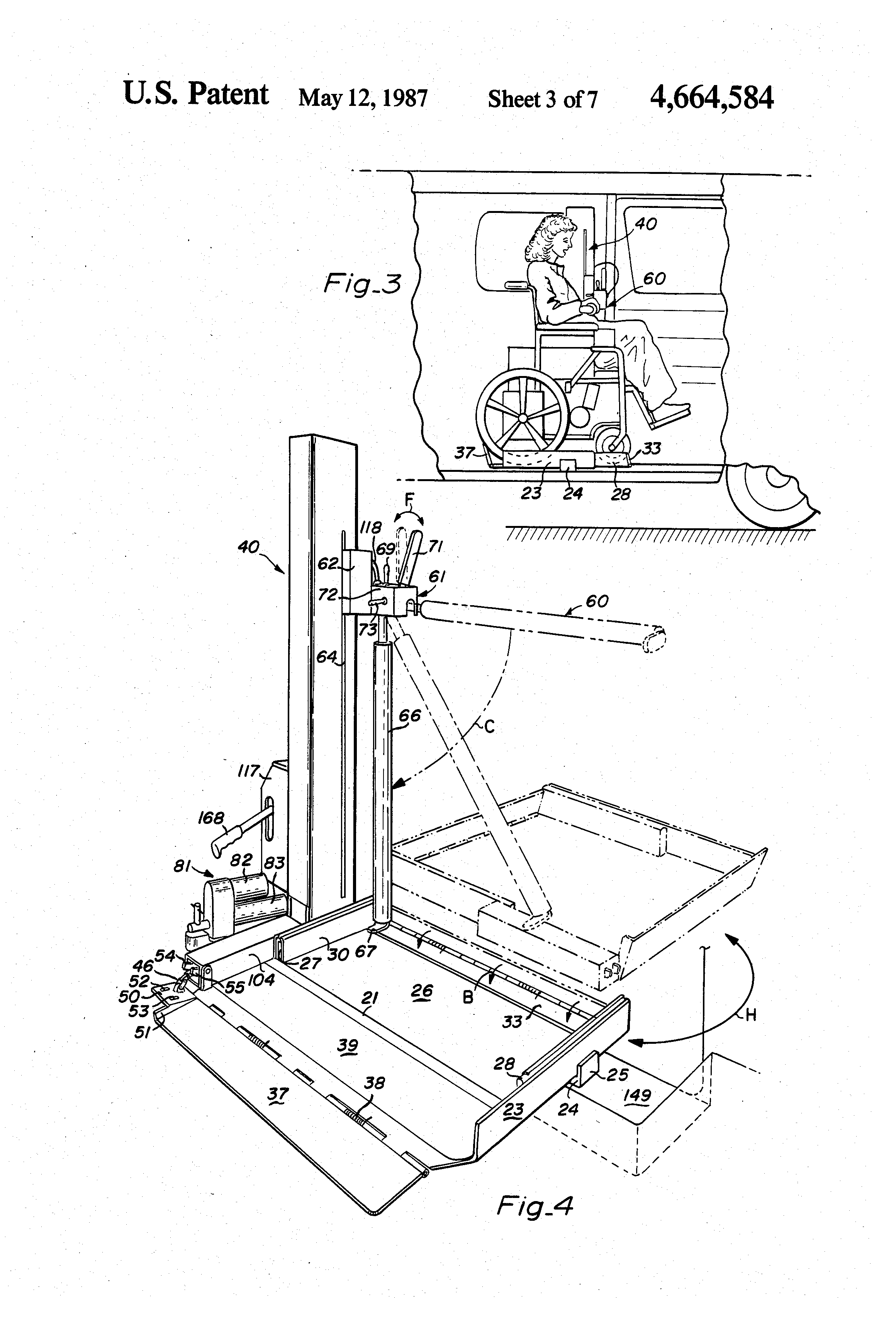 ricon lift wiring diagram 8n 12 volt conversion patent us4664584 rotary wheelchair google patents