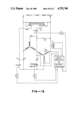 Patent US4792740  Threephase induction motor with single