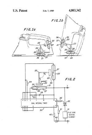 Patent US4803342  Flatiron safety device utilizing a