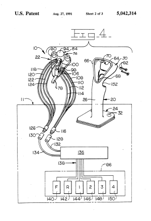 Patent US5042314  Steering and transmission shifting