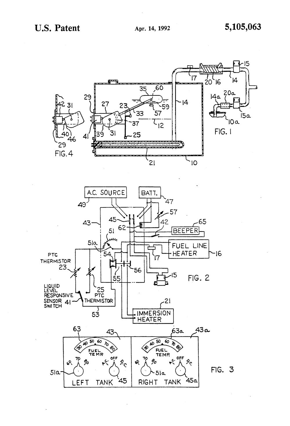 medium resolution of patent us5105063 fuel heating system utilizing a liquid level module wiring diagram thermistor fuel sending wiring diagram