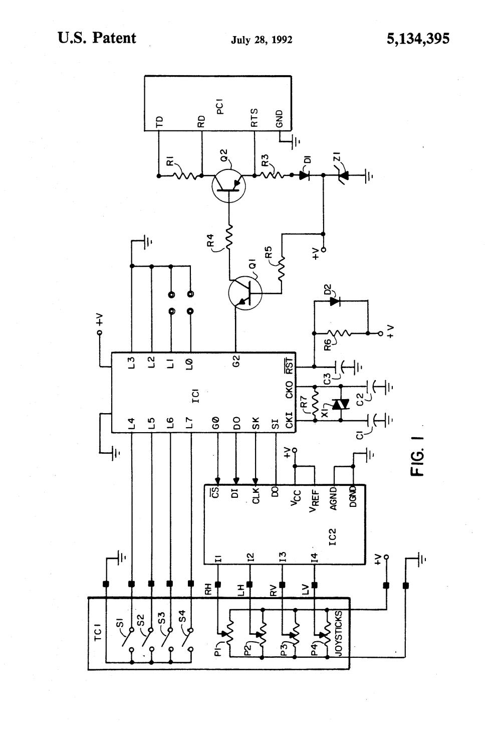 medium resolution of patent us5134395 joystick switch interface to computer joysticks connections diagram western plow solenoid wiring diagram