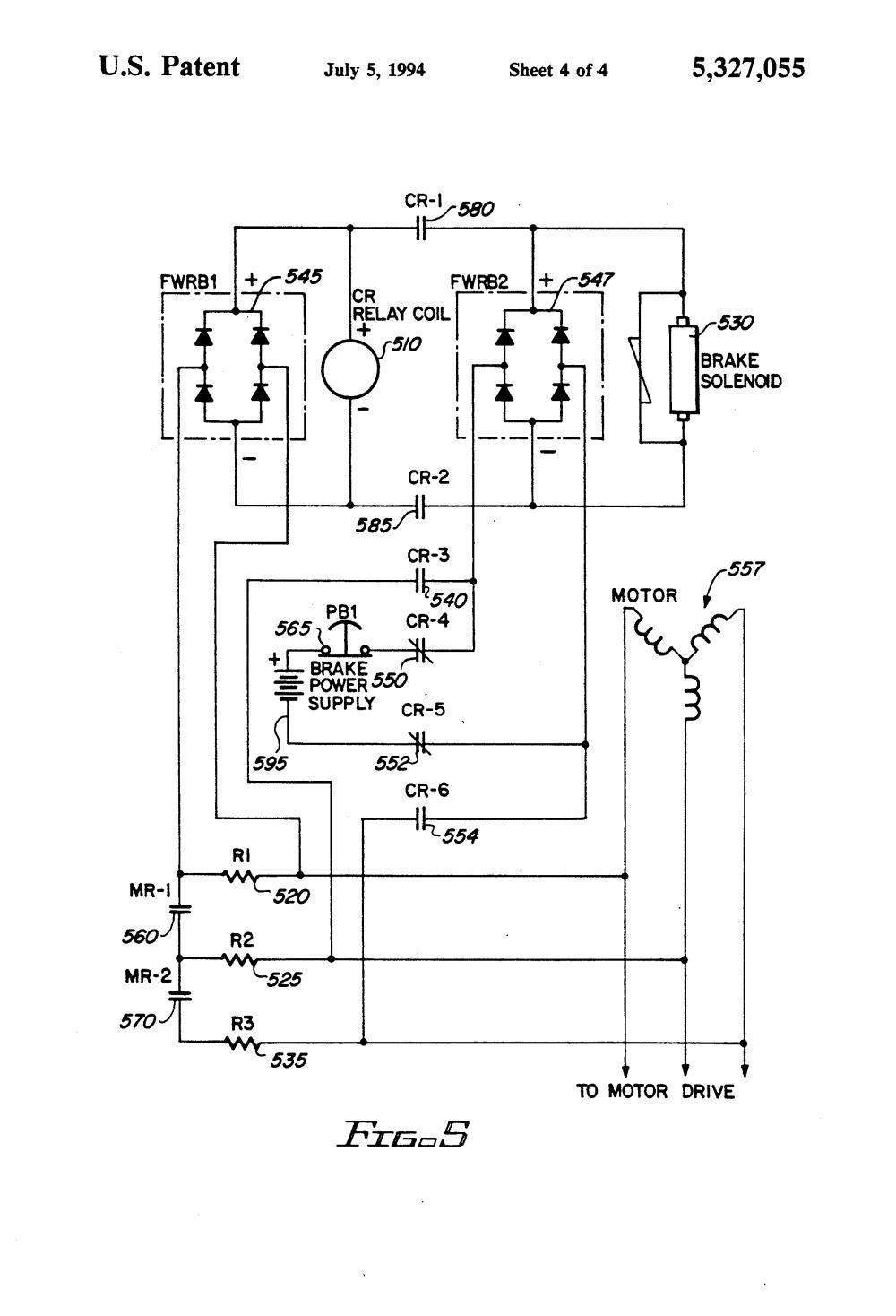 medium resolution of patent us5327055 mechanical brake hold circuit for an electric motor brake wiring diagram baldor brake motor