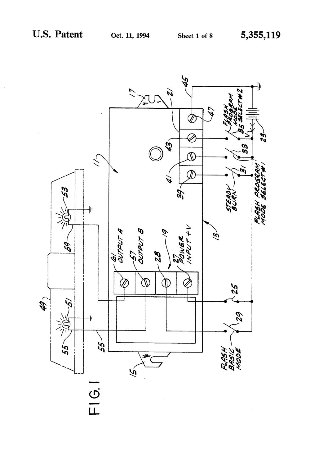 medium resolution of us5355119 1 patent us5355119 apparatus and methods for controlling a signal soundoff headlight flasher wiring diagram