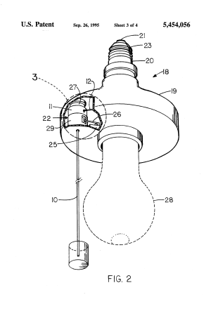 Patent US5454056  Luminous pullcord for electrical