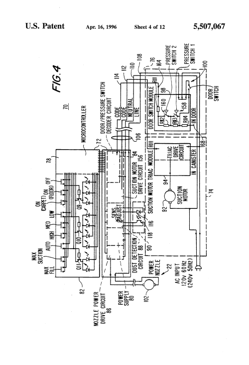 small resolution of us5507067 5 patent us5507067 electronic vacuum cleaner control system electrolux vacuum parts diagram