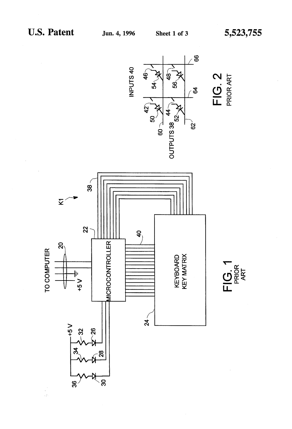 medium resolution of patent us5523755 n key rollover keyboard without diodes google patents