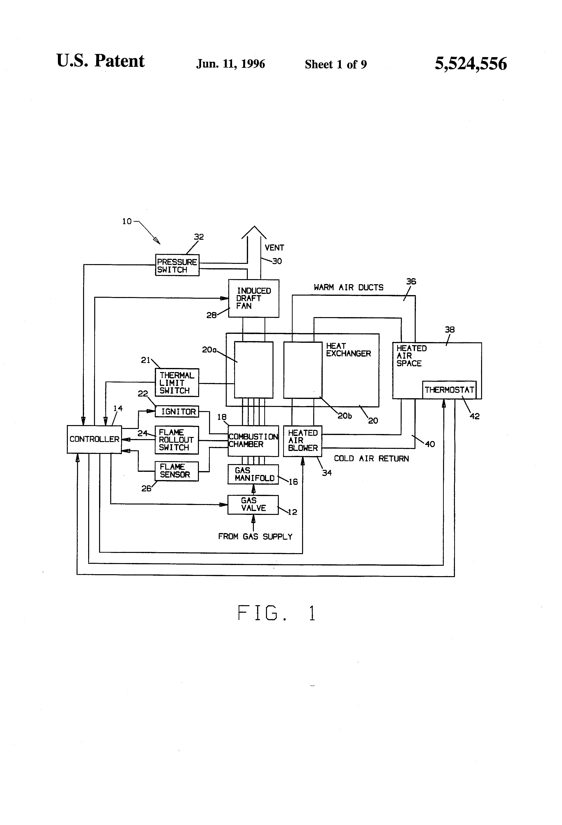 thermostat wiring diagram for electric furnace wireless winch remote patent us5524556 - induced draft fan control use with gas furnaces google patents
