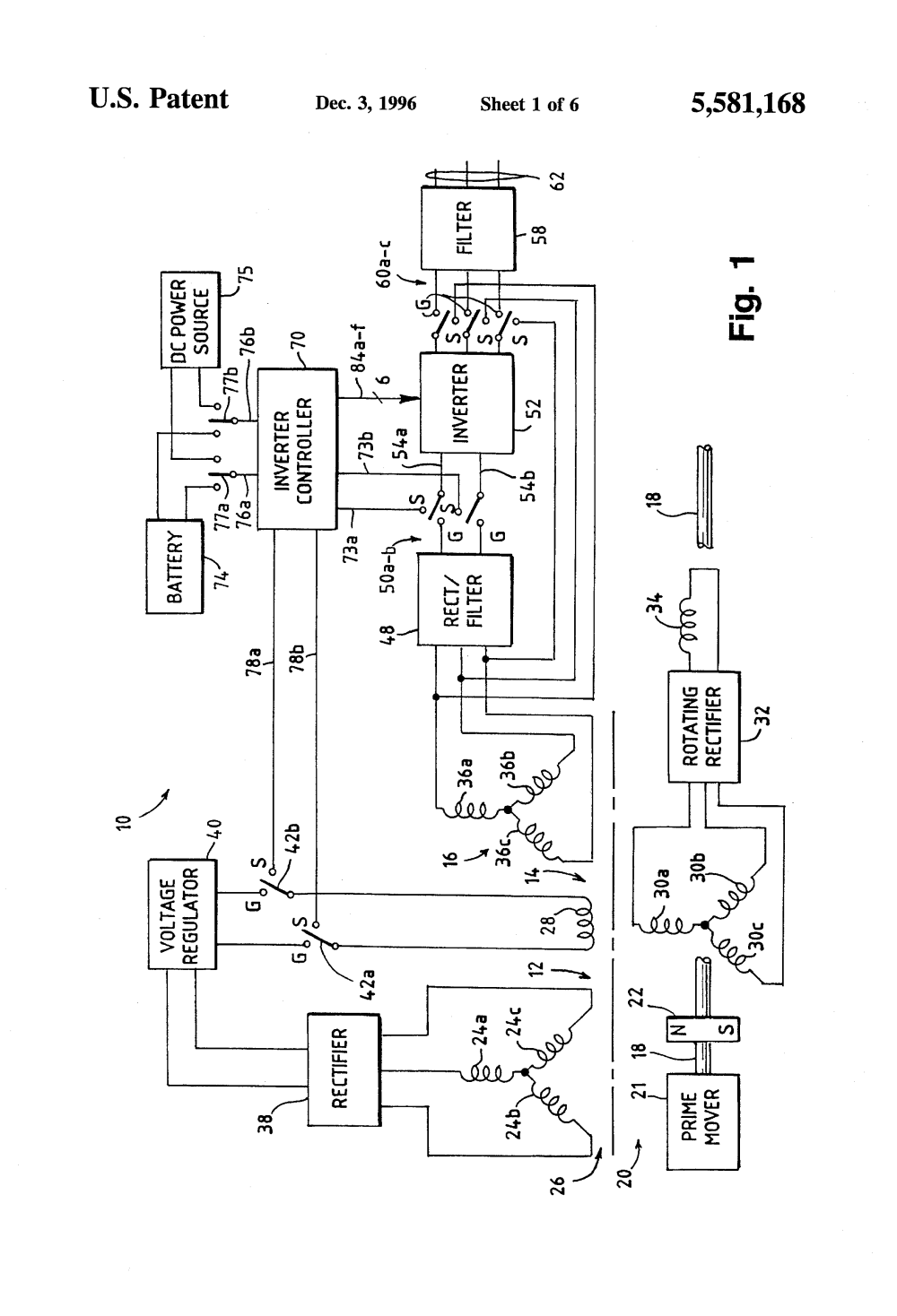 medium resolution of us5581168 2 patent us5581168 starter generator system with dc link current hitachi starter hitachi starter generator wiring diagram