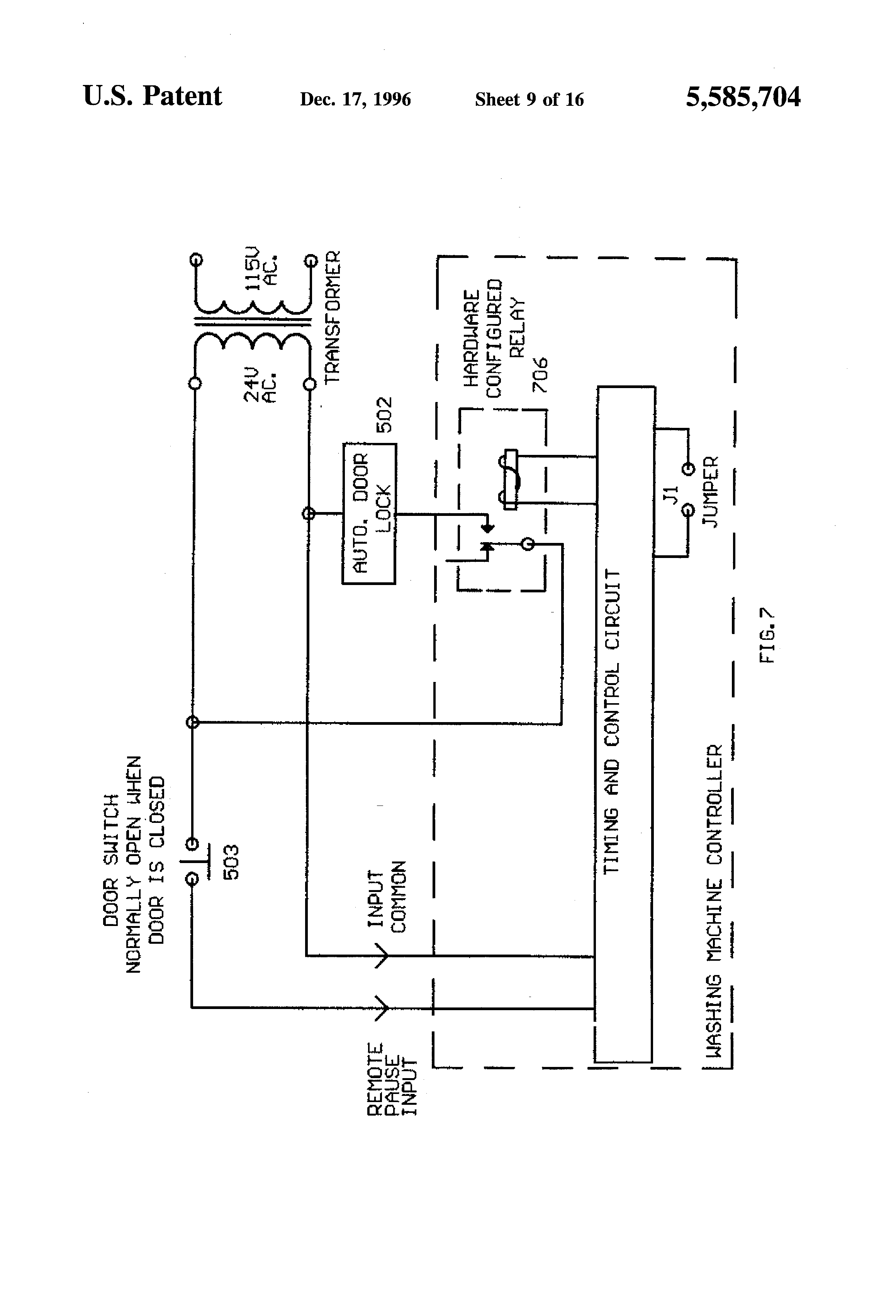 Whirlpool Washer Motor Wiring Diagram 37 Images Control Board Us5585704 9resize8402c1234 Patent Computer Means For Commercial Washing Machine Circuit