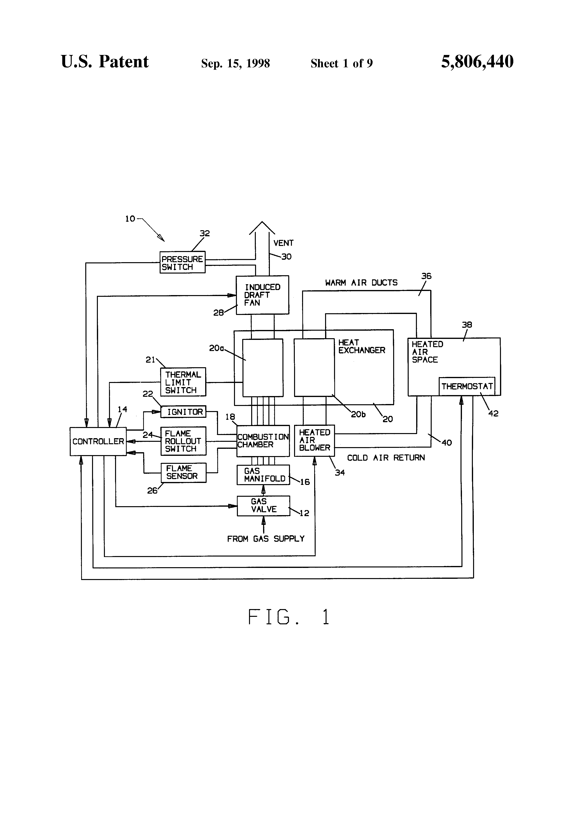 reznor wiring diagram spark plug wires patent us5806440 - method for controlling an induced draft fan use with gas furnaces ...