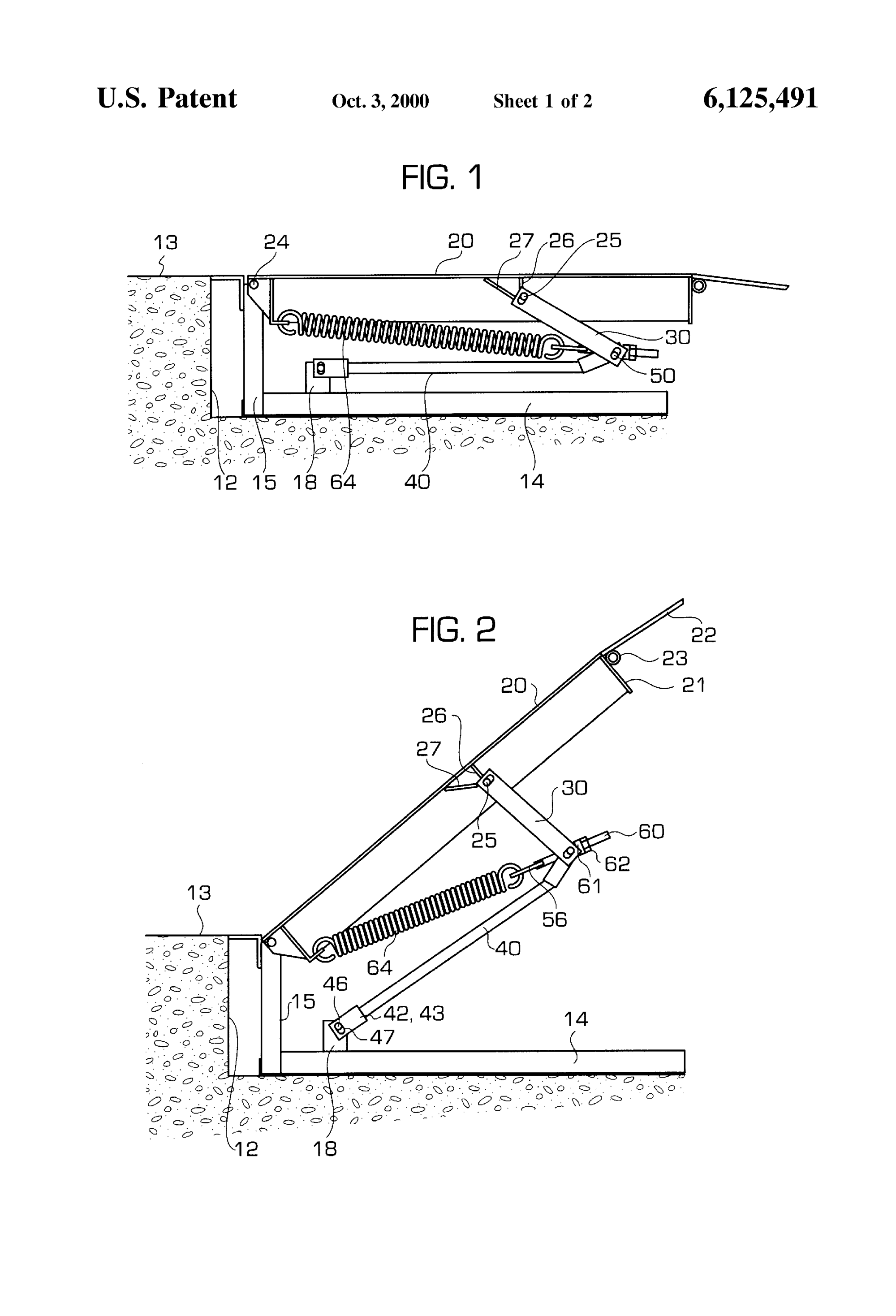 hight resolution of patent us6125491 counterbalance for mechanical dock leveler patent drawing
