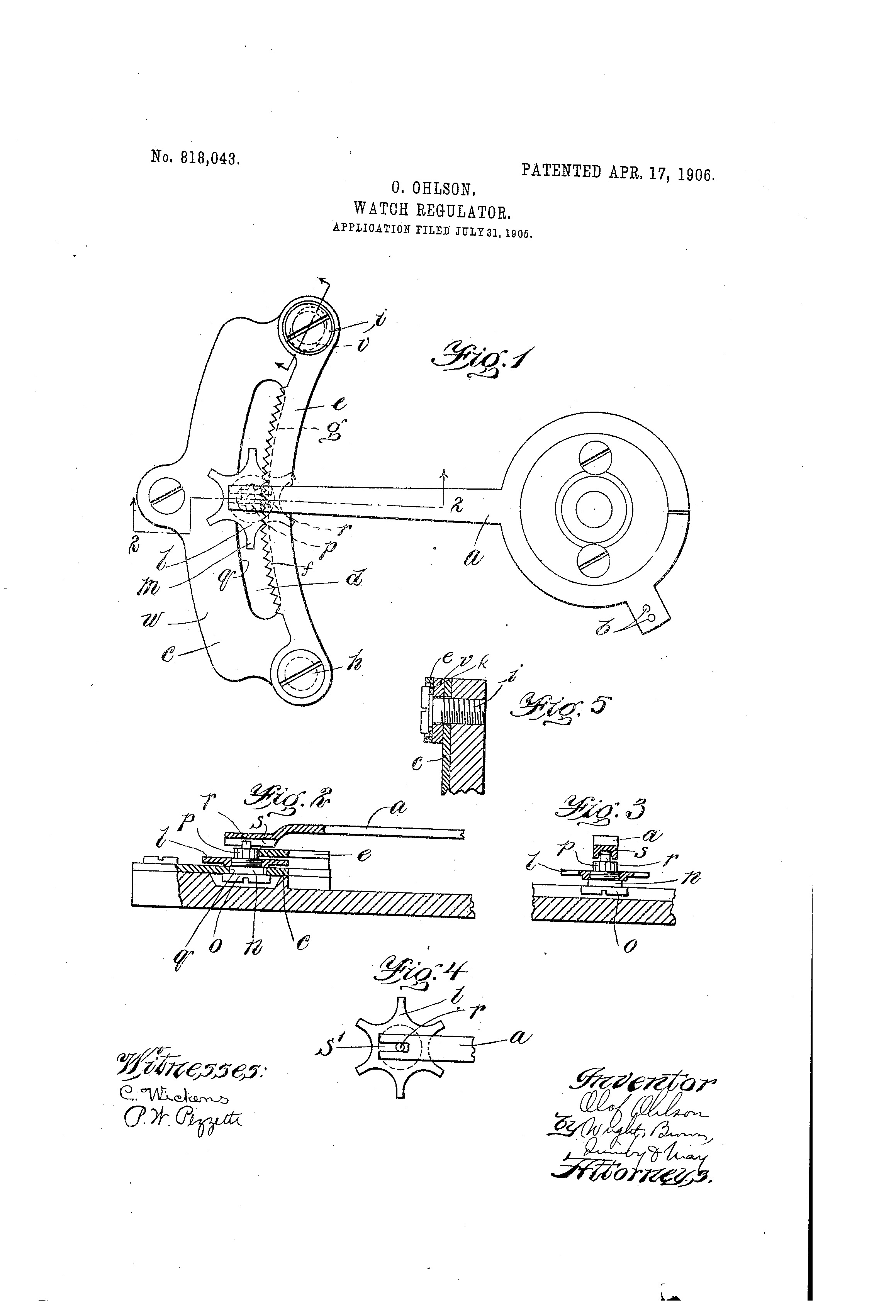 Patent Watch Regulator by Olof Ohlson Issued Apr 17, 1906