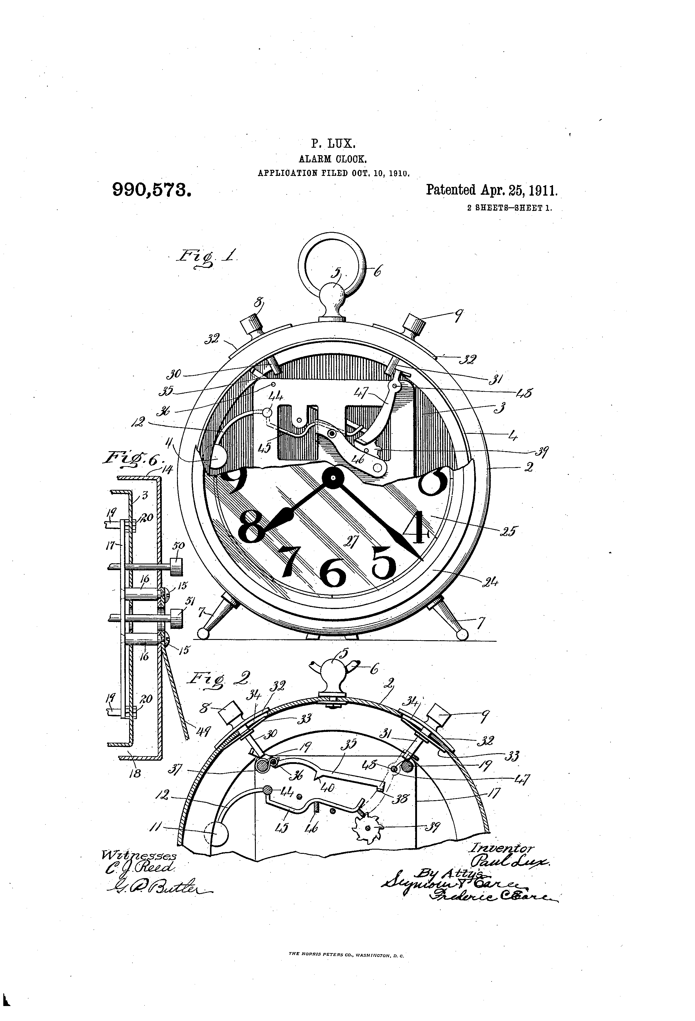 Patent Clock Alarm by Paul Lux Issued Apr 25, 1911