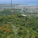 Cable car up the tallest mountain in the Caribbean