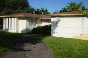 Our house rental in North Miami Beach - not much from the outside, but beautiful inside with 3 bedrooms, kosher kitchen, pool, seforim, game room, and central air.