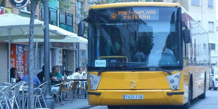 Imagen del bus de Paterna hacia PortSaplaya