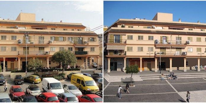 La plaza del Pueblo, antes y después de la obra