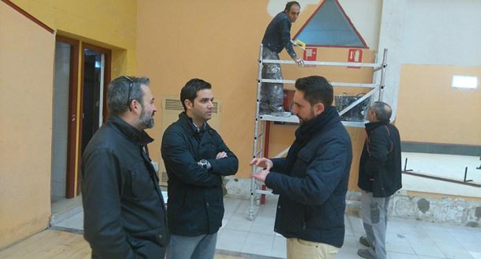 Sagredo y Mora durante la visita a las obras