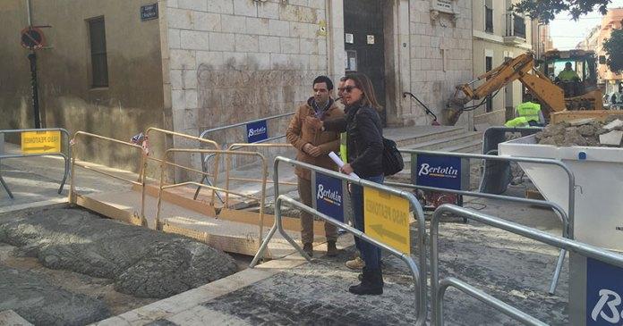 Sagredo y Campos durante su visita a las obras