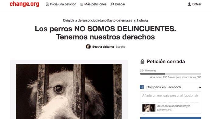 Captura de pantalla de la petición de un espacio para perros en Lloma Llarga