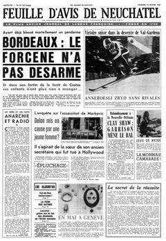 Feuille d'avis de Neuchâtel, nº 37, 14 février 1969, p. 1