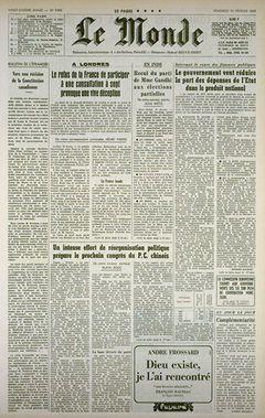 Le Monde, nº 7493, 14 février 1969, p. 1