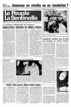 Le Peuple – La Sentinelle, nº 36, 14/02/1969, p. 1