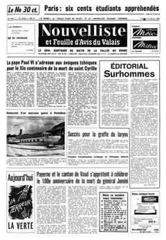 Nouvelliste et Feuille d'Avis du Valais, nº 37, 14/02/1969, p. 1
